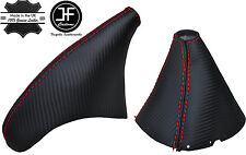 RED STITCH CARBON FIBER LOOK GEAR HANDBRAKE BOOT FOR TOYOTA SUPRA MK4 93-02
