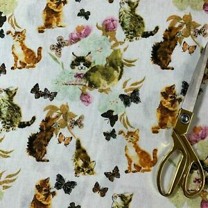 """100% Cotton WHITE Canvas CATS BUTTERLY Print Craft Decor Fabric 58"""" by Meter"""