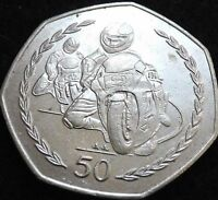 Isle of Man TT Motorbike 50p coin - Good Condition