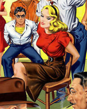 ORIGINAL VINTAGE GANGSTER COMIC PIN UP PULP ILLUSTRATION COVER ART PAINTING!