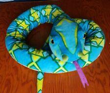 "Adventure Planet 55"" Plush Snake Lt Blues, Greens & Yellow w/Purple Tongue"