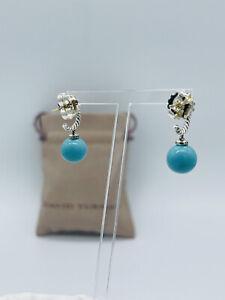David Yurman 9mm Solari Turquoise Diamonds Drop Earrings Sterling Silver