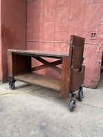 1890s Oak Library Printer Table Industrial Rolling Cart TV Console Bar Farmhouse