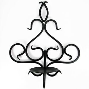 """Black Swirl Scroll Metal Candle Holder Wall Sconce Home Decor 12.25"""""""