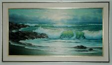 "KEMBO HANZAWA LARGE OIL ON CANVAS SEASCAPE PAINTING CALIFORNIA ARTIST 48"" X 24"""