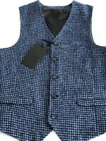 Heart & Dagger Mens Waistcoat 36 inch Chest Skinny Fit Blue Dogtooth Smart NEW