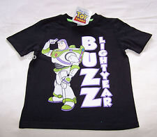 Disney Toy Story Buzz Boys Black Printed Short Sleeve T Shirt Size 6 New