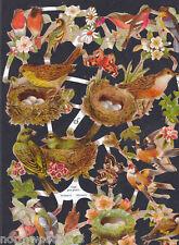 BIRD FLORAL SPRING NEST EGGS PAPER CUT SCRAP EF GERMAN