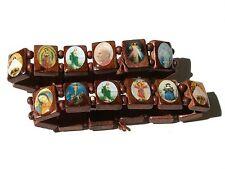 rosary wood bracelet mix Saints Religion rosary wooden bracelet lot of 2 PU11-3