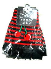 NEW RED BLACK CHERRY STRIPED CUTOFF KNIT FINGERLESS GLOVES WINTER WOMENS GIRLS