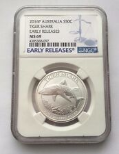 2016-P AUSTRALIA EARLY RELEASES 1/2 OZ 999 SILVER 50 CENT NGC MS69 SHARK COIN