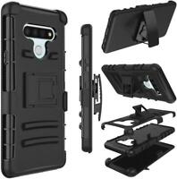 For LG STYLO 6 Armor Case Shockproof Holster Clip stand Black + Tempered Glass