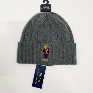 Polo Ralph Lauren Cocoa Bear Cable Knit Beanie Hat Grey NWT One Size