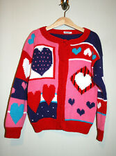 Girls Valentine's Day Multicolor Pink Red Heart Knit Cardigan Sweater 7 8 9 10