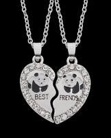 2 colliers pendentif cœur à séparer Best friends motif panda avec strass.