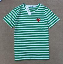Men & Women COMME DES GARCONS CDG PLAY Stripe Dot Red Heart Short Sleeve T-Shirt