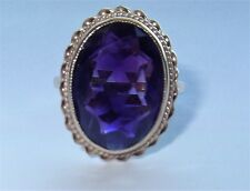 YELLOW GOLD 14K ART DECO VINTAGE AMETHYST COLORED STONE  BEZEL SET RING  6.5