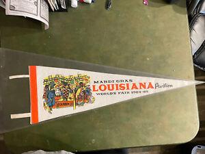 1964/65 New York Worlds Fair Louisiana Mardi Gras Pavilion Pennant Never Used...