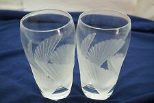 LENOX CRYSTAL GLASSES FANLIGHT PATTERN SET 2 HIGHBALL TUMBLERS BARWARE BIRD WING