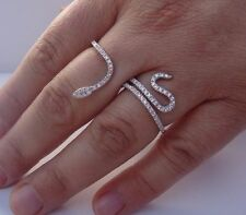 925 STERLING SILVER LADIES DOUBLE FINGER SNAKE RING W/ 2 CT DIAMONDS /SZ 5 - 9