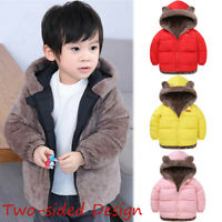 Toddler Baby Girl Hooded Coat Wear On Both Side Trench Outerwear Jacket Clothes
