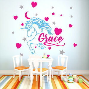 Personalised Name Unicorn Wall Sticker Custom Decal Kids Room Baby Nursery Girl