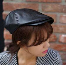 Men Women Retro Fashion Synthetic Leather Newsboy Cabbie Artist Hat Cap Beret
