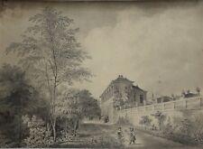 Jean-Baptiste ARNOUT (1788-186) Fillettes dans un parc dessin ancien Dijon