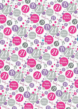 2 Sheets 21st Birthday Wrapping Paper Age 21 Gift Wrap Female Pink & White (PA)