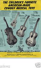 1955 PAPER AD Jefferson Co Toy Play Lone Ranger Guitar Spanish Cowboy Banjo Uke