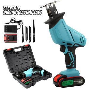 21V Heavy Duty Cordless Reciprocating Saw Wood Metal Cutting 4 Blades w/ Battery