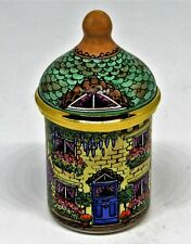 Staffordshire English Enamel Box - Victorian House - Country Cottage - Flowers
