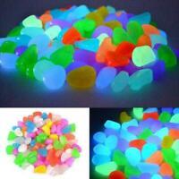 50PCS Glow In The Dark Pebbles Luminous Stones Garden Aquarium Mixed M1L2