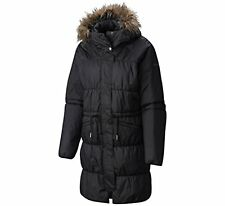 NWT Columbia M MD SPARKS LAKE LONG Insulated Women's Jacket Fur Hood BLACK $220