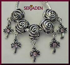 5 Sweet Dangle Cross Charm w/ Pink Stone fits European Bracelet or Necklace R135