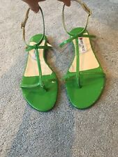 Jimmy Choo Size 5 / EU 39 Green Patent Leather Fiona Flat Sandals