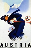 "Vintage Illustrated Travel Poster CANVAS PRINT Ski Austria 24""X16"""