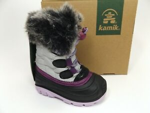 Kamik Kids' Lychee Winter Snow Boot, Silver, Waterproof, SZ 6 T, NEW   D13772