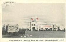 1950s Stockholm Swedish Smogasbord restaurant roadside postcard 11045
