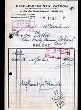 """PARIS (V°) MATERIEL pour CAVISTE """"Ets VATRON"""" en 1951"""