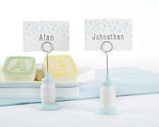 6 Blue Classic Bottle Place Card Holders Boy Baby Shower Decorations Q36426