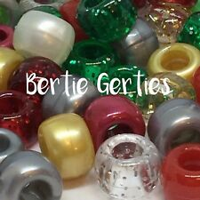 *3 FOR 2* Christmas Xmas Mix - Glitter Opaque Pearl - Pony Beads, Dummy Clips