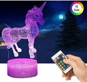 3D Unicorn LED Night Light with Remote Control Gifts Toys Decor 16 Colours NEW