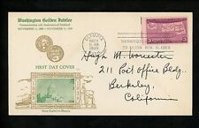 US FDC #858 Washington Golden Jubilee M-13 1939 Olympia WA Statehood MT ND SD