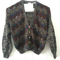 Vtg Bachrach Mens Large Grandpa Sweater Cardigan Hand Knit Button Front Cosby