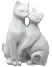 Satin White Pair of Cats Figurine 21cm H New & Boxed