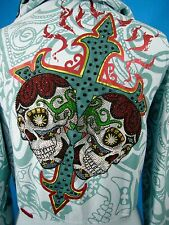 Cross Sugar Skull Hoodie Jacket Rebel Spirit Tattoo Blue L Flames