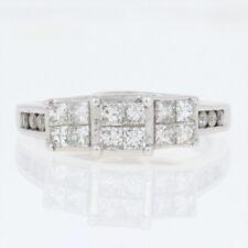 White Gold Diamond Engagement Ring -10k Princess Cut 1.00ctw Past Present Future