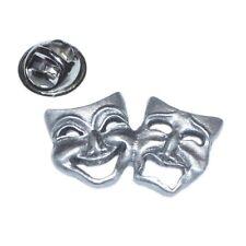 English Pewter Theatre Drama Happy Sad Masks Large Pin Badge XDHLP0615