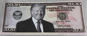 * 2 Donald Trump 2020 For President Campaign Jobs Not Mobs $50 Dollar Bill Note